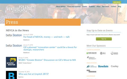 Screenshot of Press Page newenglandvc.org - NEVCA in the News - New England Venture Capital Association - captured Feb. 14, 2016