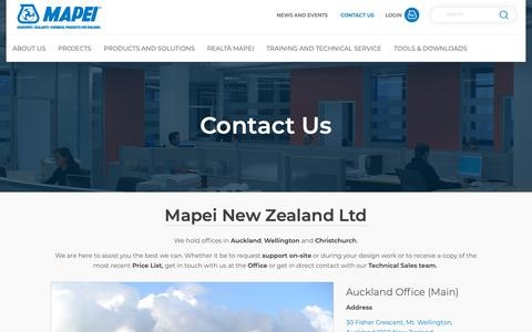 Screenshot of Contact Page mapei.com - Mapei NZ Ltd | Contact Mapei | Mapei - captured Oct. 16, 2018