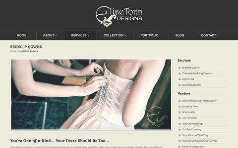 Screenshot of Services Page elisetonndesigns.com - Custom Bridal Gowns & Evening Wear | Victoria, BC - captured Sept. 29, 2014