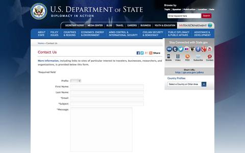 Screenshot of Contact Page FAQ Page state.gov - Contact Us - captured Oct. 23, 2014
