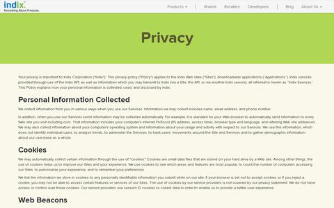 Screenshot of Privacy Page indix.com - Privacy - captured July 20, 2014