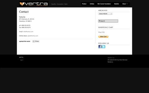 Screenshot of Contact Page vertra.com - Contact – Vertra Elemental Resistance - captured Sept. 17, 2014