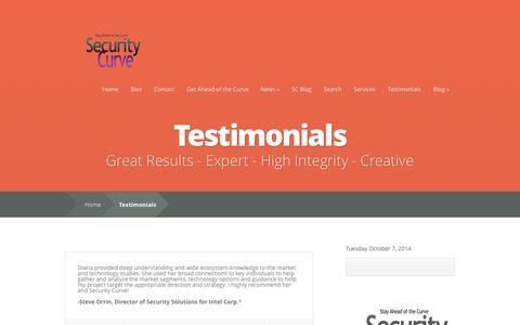 Screenshot of Testimonials Page securitycurve.com - Testimonials   SecurityCurve - captured Oct. 7, 2014