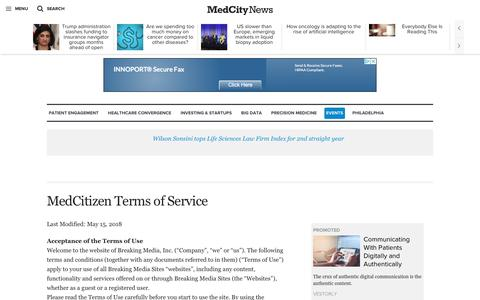 Screenshot of Terms Page medcitynews.com - MedCitizen Terms of Service - MedCity News - captured July 13, 2018