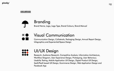 Screenshot of Services Page pixelvj.com - Branding | UI/UX Design | Web Design | Digital Marketing | Mobile Apps - captured Sept. 28, 2018