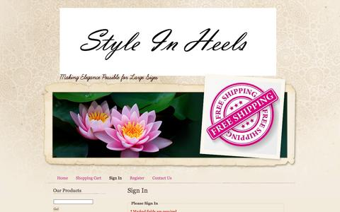 Screenshot of Login Page styleinheels.com - Style In Heels elegant womens large size shoes - captured June 15, 2016