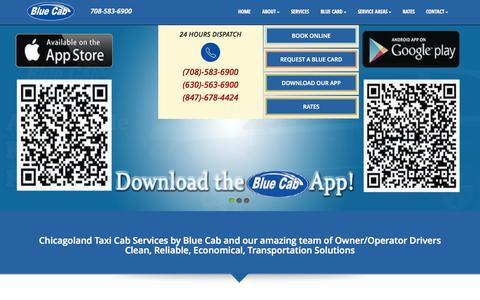 Screenshot of Home Page bluecab.us - Taxi and Cab Services Around Chicago -Blue Cab - captured Sept. 30, 2014