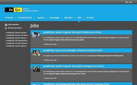 Screenshot of Jobs Page insys.de - InSys AG | IT-Solutions - captured Oct. 6, 2014