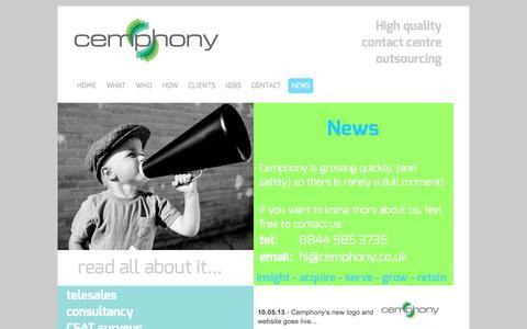 Screenshot of Press Page cemphony.co.uk - NEWS - Cemphony - captured Oct. 2, 2014