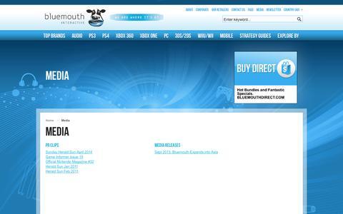 Screenshot of Press Page bluemouth.com - Media - captured Oct. 5, 2014