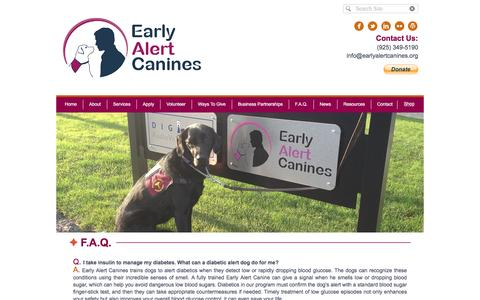 Screenshot of FAQ Page earlyalertcanines.org - Early Alert Canines - A Diabetics Best Friend - captured May 13, 2017