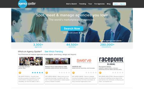 Screenshot of Home Page agencyspotter.com - Agency Spotter - A better way to search for and partner with creative agencies - captured Sept. 11, 2014