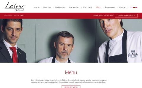 Screenshot of Menu Page restaurantlatour.nl - Restaurant Latour > Menu - captured May 9, 2016