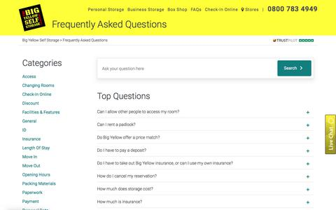 Screenshot of FAQ Page bigyellow.co.uk - FAQs | Self Storage Questions | Big Yellow - captured Oct. 15, 2019