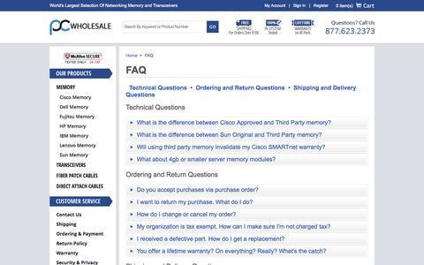 Screenshot of FAQ Page pc-wholesale.com - FAQ - captured Sept. 25, 2014