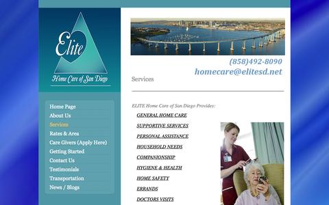 Screenshot of Services Page elitesd.net - Services | Elite Home Care San Diego - captured Oct. 2, 2014