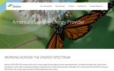 Screenshot of About Page exeloncorp.com - About Exelon - captured Nov. 26, 2019