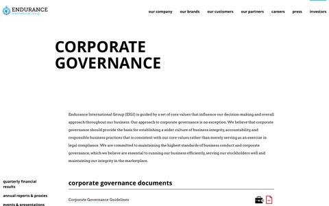 Corporate Governance - Endurance International Group