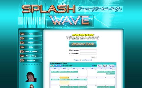 Screenshot of Login Page splash-wave.com captured Nov. 3, 2014