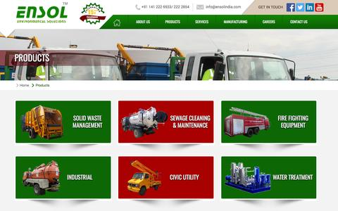 Screenshot of Products Page ensol.co.in - EnsolIndia A Multiclean Equipment Pvt. Ltd. - captured June 26, 2016