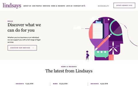Screenshot of Home Page lindsays.co.uk - Lindsays | Solicitors and estate agents in Scotland - captured July 13, 2018