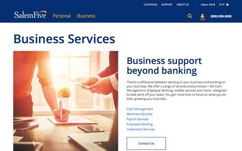 Screenshot of Services Page salemfive.com - Business Services | Salem Five Bank - captured July 3, 2018