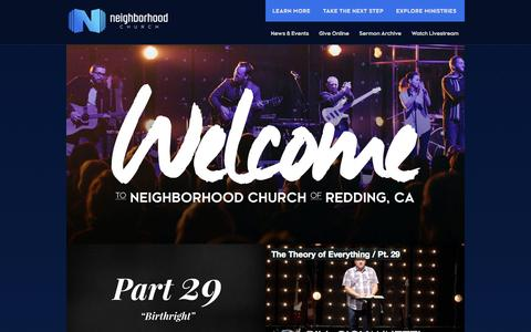 Screenshot of Home Page neighborhood.cc - Neighborhood Church - of Redding - captured Oct. 7, 2014