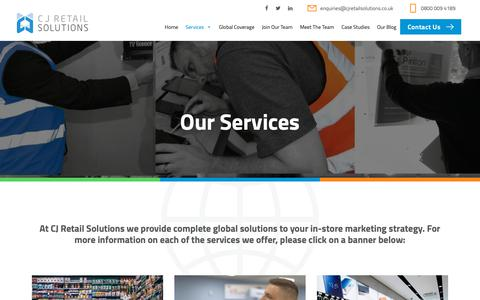 Screenshot of Services Page cjretailsolutions.co.uk - Our Services | CJ Retail Solutions - captured Nov. 14, 2018