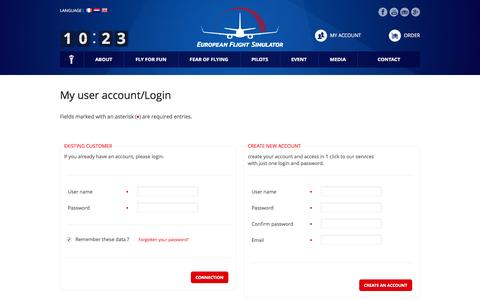 Screenshot of Login Page efsimulator.com - European Flight Simulator > Ecommerce - captured Oct. 17, 2016