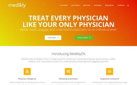 Screenshot of Home Page medikly.com - Medikly: Treat Every Physician Like Your Only Physician - captured Sept. 11, 2014