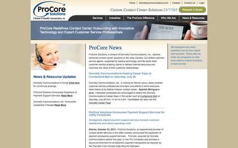 Screenshot of Press Page procoresolutions.com - ProCore Solutions – News – Resources – Outsourced Contact Center Solutions - captured Sept. 30, 2014