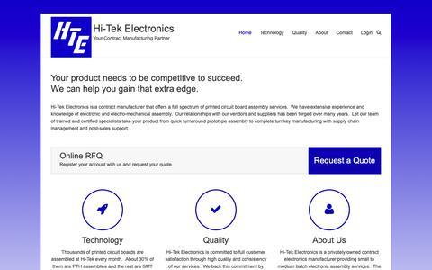 Screenshot of Home Page hitekquality.com - Hi-Tek Electronics – Your Contract Manufacturing Partner - captured Sept. 28, 2018