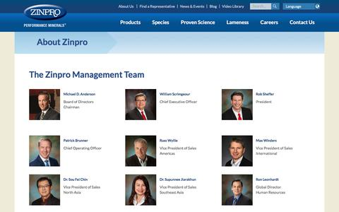 Screenshot of Team Page zinpro.com - Management - captured Oct. 12, 2019