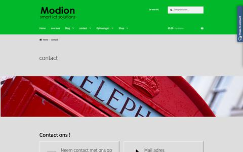 Screenshot of Contact Page modion.com - contact - Modion smart ict solutions - captured Oct. 19, 2018