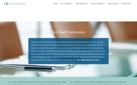 Screenshot of Testimonials Page helmsbriscoe.com - HelmsBriscoe Client Testimonials - captured May 18, 2017