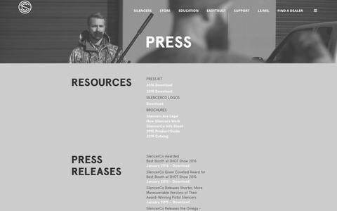 Screenshot of Press Page silencerco.com - Press Releases - SilencerCo - captured April 4, 2016