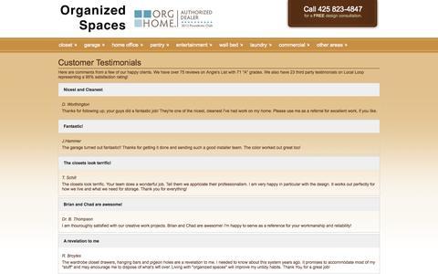 Screenshot of Testimonials Page organizedspaces.com - Customer Testimonials   Organized Spaces - Seattle, Bellevue, Kirkland WA - captured Oct. 26, 2014