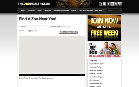 Screenshot of Contact Page Locations Page zoogym.com - Find A Zoo Near You! | The Zoo Health Club - captured Oct. 26, 2014