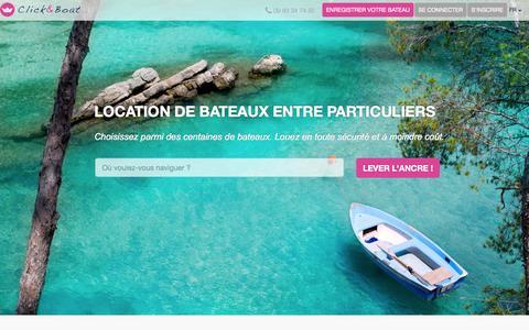 Screenshot of Home Page clickandboat.com - Location de bateaux entre particuliers - Click & Boat - captured Sept. 19, 2014