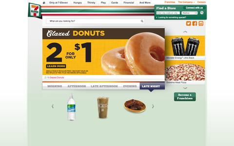 Screenshot of Home Page 7-eleven.com - Fast, convenient. 7-Eleven®. Oh thank Heaven®. - captured Sept. 18, 2014