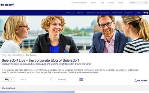 Screenshot of Blog beiersdorf.com - Beiersdorf - Beiersdorf Live - captured Dec. 5, 2017