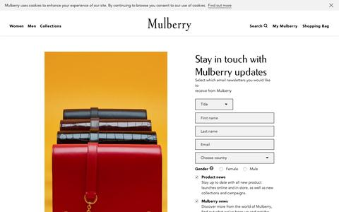Screenshot of Signup Page mulberry.com - My Account Updates | Mulberry - captured March 29, 2016
