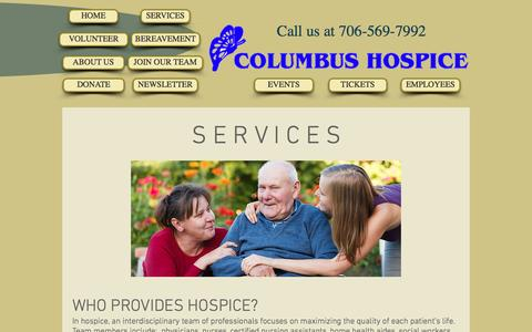 Screenshot of Services Page columbushospice.com - COLUMBUS HOSPICE | SERVICES - captured Nov. 9, 2016