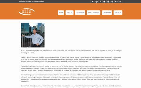 Screenshot of Testimonials Page aiis.net.au - Testimonials | AIIS - captured Oct. 2, 2018