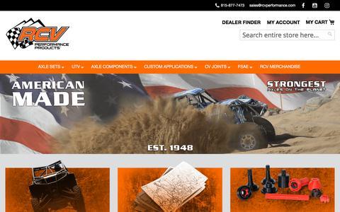 Screenshot of Home Page rcvperformance.com - RCV Performance - Ultimate CV Axles - captured Sept. 20, 2018