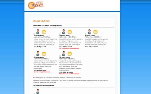 Screenshot of Signup Page asksunday.com - Signup for AskSunday Dedicated Assistant Service - captured Sept. 19, 2014