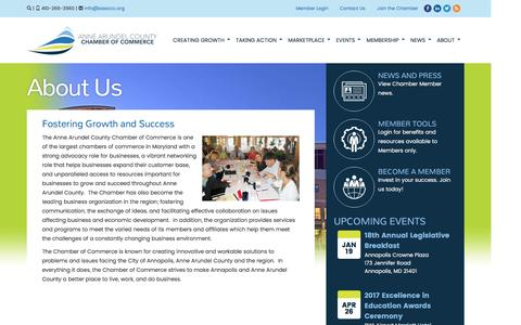 Screenshot of About Page annearundelchamber.org - About Us | Anne Arundel Chamber of Commerce - captured Jan. 4, 2017