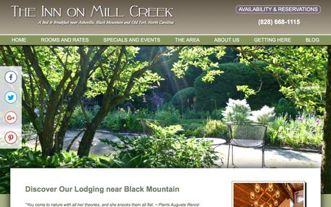 Screenshot of About Page innonmillcreek.com - Our B&B Lodging near Black Mountain North Carolina - captured Sept. 19, 2018