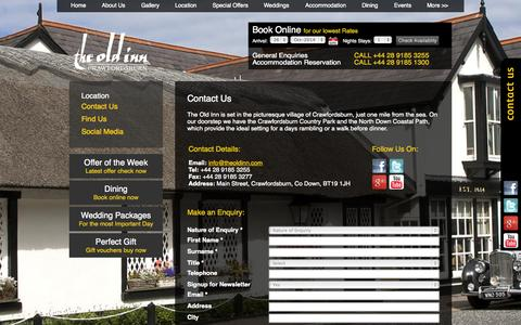 Screenshot of Contact Page theoldinn.com - Hotels Near Belfast | The Old Inn, Crawfordsburn | Contact Us - captured Oct. 26, 2014
