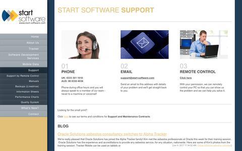 Screenshot of Support Page start-software.com - Start Software - Software Development Services - Support - captured June 19, 2017